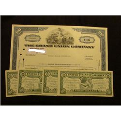 "100 Shares of 1966 Stock ""The Grand Union Company"", vignette of woman with cape; & (7) 1976 Commemor"