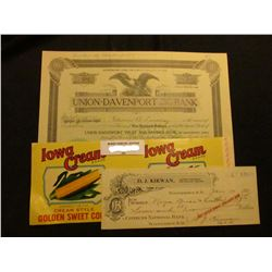 """Iowa Cream Brand Golden Sweet Corn"" can label; 12 Shares of 1923 Stock in ""Union-Davenport Trust an"