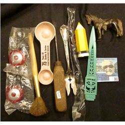 """Ice Pick with wooden handle; """"75 Years of Quality & Serevice Your Rawleigh Dealer"""" measuring spoon;"""