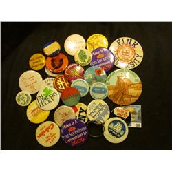 """Large group of miscellaneous Pin-backs including """"Fink University"""", """"Exhibitor Townsend's Antique Sh"""