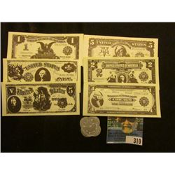 "(6) Different Miniature Currency facsimiles & a ""Good for/12 1/2c/In Trade"", ""W.I. Dow/Wisdom, Mont."
