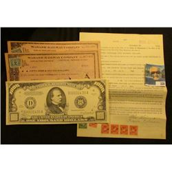 "1923 Promissory Note to the ""State of Minnesota"" with (5) attached 10c Documentary Stamps & (1) $1 D"