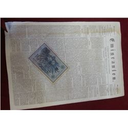 "1908 German One hundred Mark Bank note, Pick No. 34; & newspaper January 28th, 1867 ""Emigranten"" Mad"