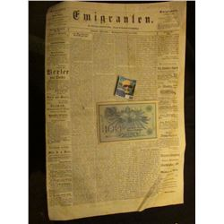 "1908 German One hundred Mark Bank note, Pick No. 34; & newspaper June 15th, 1868 ""Emigranten"" Madiso"