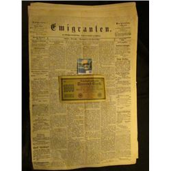 "1922 German One thousand Mark Bank note; & newspaper March 30th, 1868 ""Emigranten"" Madison, Wisconsi"