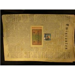 "1923 German Twenty thousand Mark ReichsBankNote; & newspaper March 16th, 1868 ""Emigranten"" Madison,"
