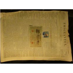 "1910 One Thousand Mark German Banknote & newspaper March 16, 1855 ""Emigranten"" Madison, Wisconsin, m"