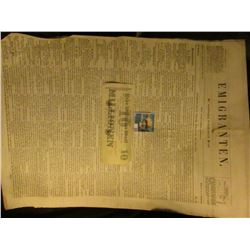 "1923 Ten Million Mark German Banknote & newspaper April 13th, 1855 ""Emigranten"" Madison, Wisconsin,"