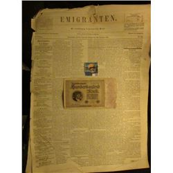 "1923 One Hundred Thousand Mark German Banknote & newspaperNovember 10th, 1854 ""Emigranten"" Madison,"