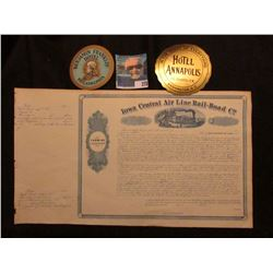 "May 15th, 1856 ""Iowa Central Air Line Rail-Road Co. Farming Land Scrip"" unissued certificate, valid"