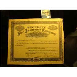 "1920 era Number 400 Stock Certificate for 3 Shares ""Security Fire Insurance Company Davenport, Iowa."
