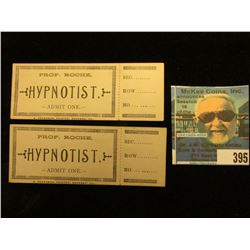 "Pair of Mint Tickets for ""Prof. Roche Hypnotist Admit One E. Anderson, Printer, Geneseo, Ill."""