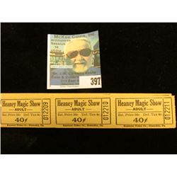 "(24) mint condition ""Heaney Magic Show Adult…40c…Keystone Ticket Co., Shamkin, Pa.""."