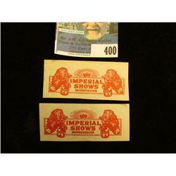 "Pair of Tickets ""Imperial Shows Incorporated"" each depicts a Roaring Lion."
