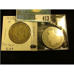 1908 O Good & 12 P Good U.S. Barber Half Dollar. The reverse rim is only slightly weak on the first,