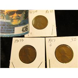 1917 P, D, & S Lincoln Cents, Good.