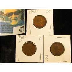 1918 P, D, & S Lincoln Cents, Very Good.