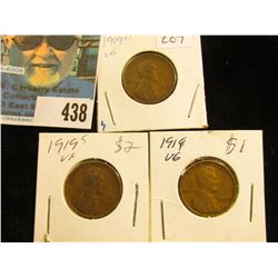 1919 P, D, & S Lincoln Cents, Very Good.