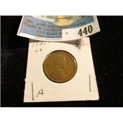 1921 S Lincoln Cent, Very Good.