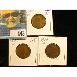 1928 P, D, & 29 P Lincoln Cents, Very Good.