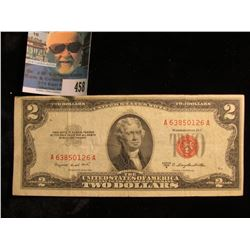 "Series 1953 B Two Dollar U.S. Note ""Red Seal"" Very Nice."