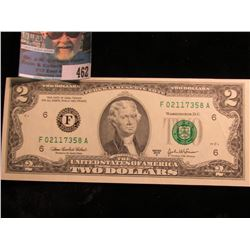 Series 2003 A Two Dollar U.S. Federal Reserve Note. CU.