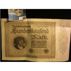 Series 1923 German Reichsbanknote One Hundred Thousand Mark, Choice AU.