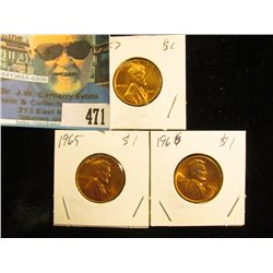 1965, 66, & 67 P  Gem BU Lincoln Cents.