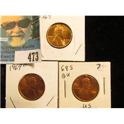 1969 P, 69 D, & 69 S Red Gem BU Lincoln Cents.