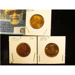 1972 P, D, & S Red Gem BU Lincoln Cents.