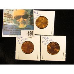 1982 P Large Date, 82 D Large Date, & 82 P Small Date Copper Lincoln Cents. All Red Gem BU.