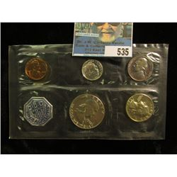 1962 P U.S. Proof Set in original cellophane as issued by the U.S. Mint. Heavily toned nickel.