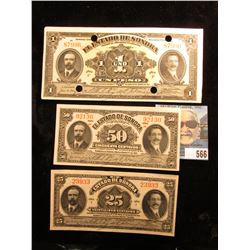 "1913-15 Series I, H, & F ""El Estado De Sonora"" 25c, 50c, & One Peso Banknotes. Near CU. The One Peso"