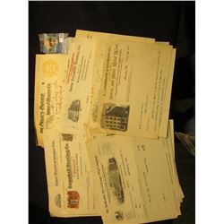 Approximately (20) Old invoices dating 1903-20 on Heating and Cooking Stove and Range companies. Som