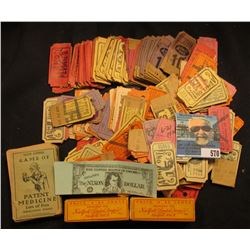 """Large group of Old Circus Admition tickets; old """"Lion Coffee Game of Patent Medicine (Lots of Fun)"""";"""