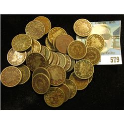 """(37) Liberty """"V"""" Nickels including a pair of 1883 With Cents. All toned and lower grades."""