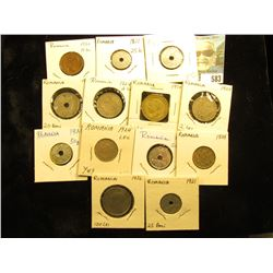 (13) Pre World War II Romanian Coins with grades up to BU.