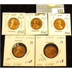(5) 1974 S Lincoln Cent PF-67