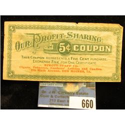 """Our Profit-Sharing 5c Coupon…Strotz-Staff Co. Des Moines, Ia."", circa 1933."