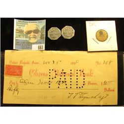 """1898 """"Citizens National Bank Cedar Rapids, Iowa"""" check with documentary stamp. Hole cancelled; """"BK"""""""