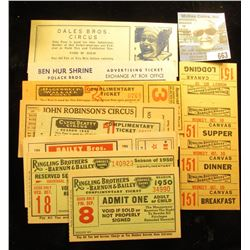 """(9) Different Circus tickets including 1954 Mint unused """"Bailey Bros. and Cristiani Circus Press Com"""