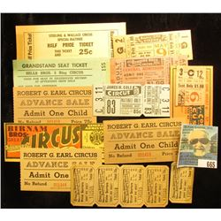 """(10) Different Circus tickets including """"Sells Bros. 3 Ring Circus""""; """"Sterling & Wallace Circus""""; """"B"""