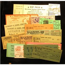 (22) Various Circus ticket dating back to the 1950's.
