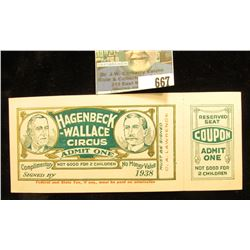 "1938 ""Hagenbeck-Wallace Circus Admit One"" Ticket with Stub."