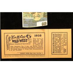 """1938 """"Col. Tim Mc Coy's Real Wild West and Rough Riders of the World"""" Ticket with stub."""