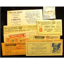 "(9) Different Circus tickets including ""Ben Hur Shrine Polack Bros. 8th Annual Shrine Circus…Austin,"