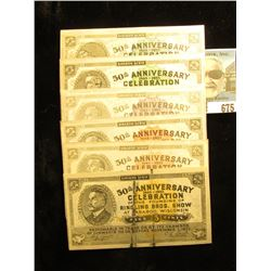 "(6) different Baraboo Scrip ""50th Anniversary 1883-1933 Celebration of the Founding of Ringling Bros"