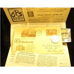 1953 C.P.S. News Brochure; 1860-1950 90th Anniversary Chicago cover of first Post office built after