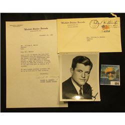 November 15, 1965 autographed letter on letter head and black and white photo of Edward M. Kennedy.