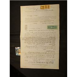 August 9th, 1866 $2,500 Promissory Note from Marion County, Indiana with (4) attached Internal Reven